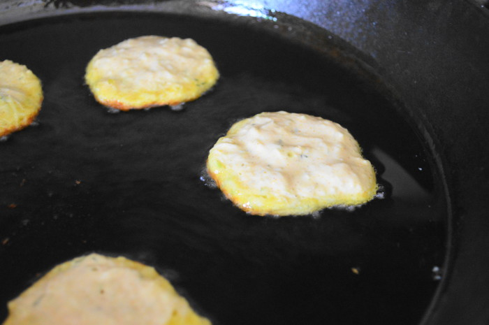 I didn't want to overcrowd my pan, so I made 5 curried zucchini pancakes at a time.