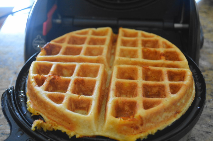 The cheddar corn waffles puffed up and became so gorgeous in the waffle iron. Oh my goodness did they smell yummy too!