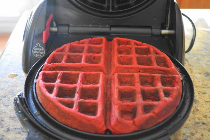 The red velvet waffle was a gorgeous sight fresh out of the iron and smelled as good as it looked!