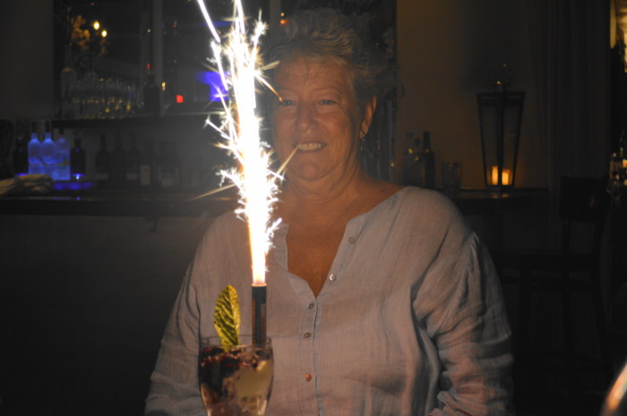 Who knew that mom's birthday surprise would involve a huge sparkler??