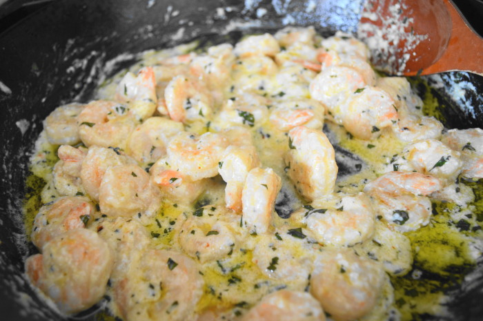 The creamy lemon basil shrimp came together quickly and easily!