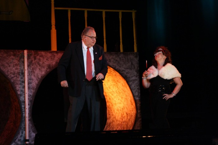 Me as Mrs. Millenium having a word with Senator Fipp, played perfectly by Arnold Brown.