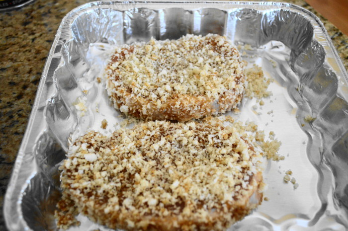 The Asian panko crusted pork chops were ready to bake in 2 simple steps!