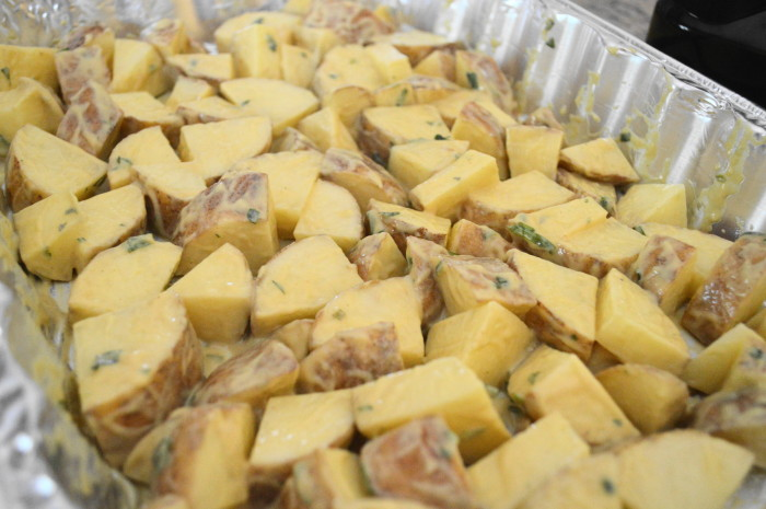 The mustard tarragon roasted potatoes all ready to go into the oven!