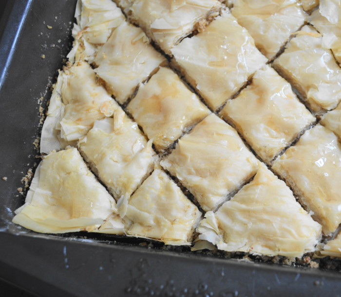 The baklava was all done with that glorious, stick syrup all over it!
