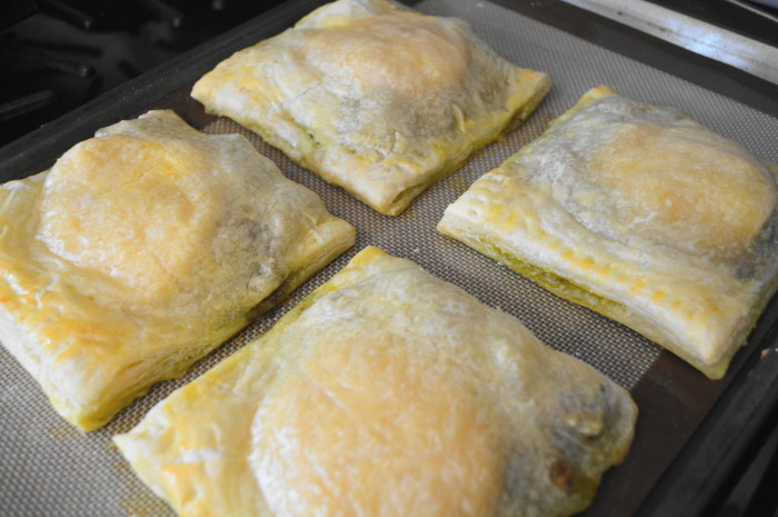 Oh my goodness, the pesto chicken turnovers looked so glorious right out of the oven!