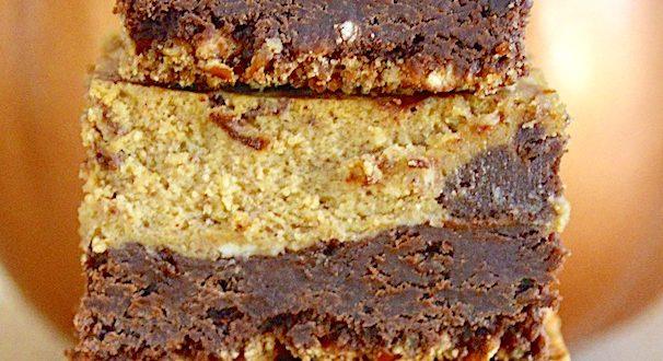 Pretzel Crusted Pumpkin Cheesecake Brownies