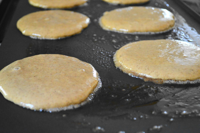 The spiced apple sauce pancakes needed to cook and puff up for about 4 minutes on each side.