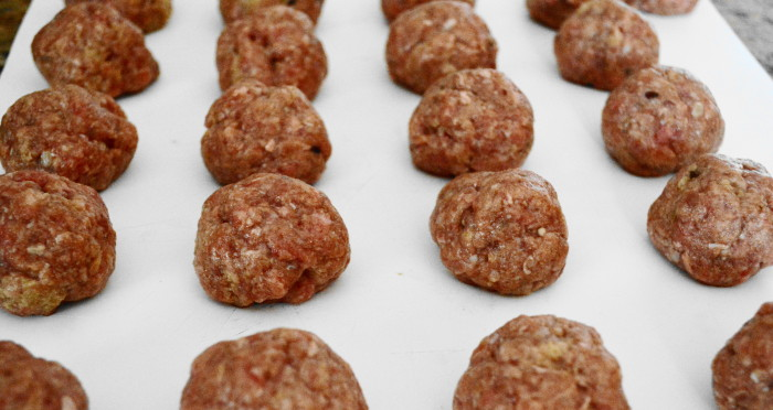 I worked that milk soaked bread in with the rest of the meatball ingredients and quickly formed them. These meatballs were going to be the star of the sartu di riso!