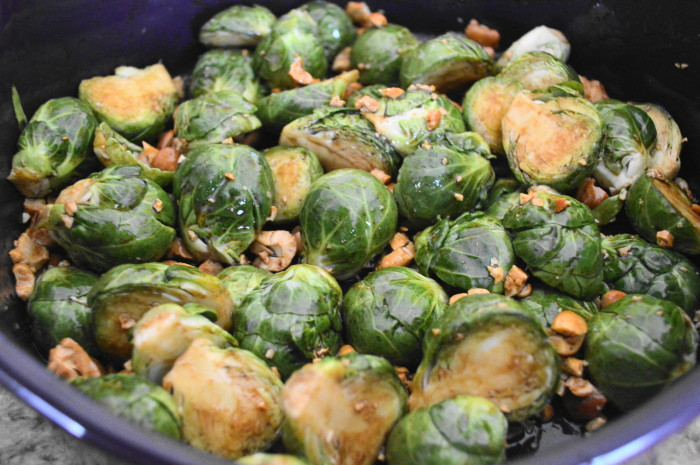 I tossed those brussel sprouts with an incredible mixture of sesame oil, soy sauce, sriracha, Worcestershire sauce and chopped cashews. Then they went into my oven for 20 minutes.