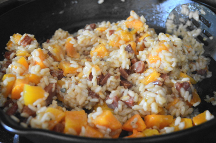 When the rice was done, the butternut squash was also ready. I stirred it right into the rice, along with the pancetta and lots of smoked gouda. Then the roasted butternut squash risotto was done!