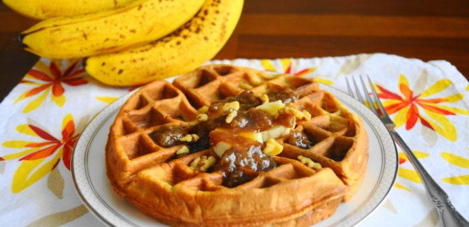 Banana Waffles with Banana Bourbon Sauce
