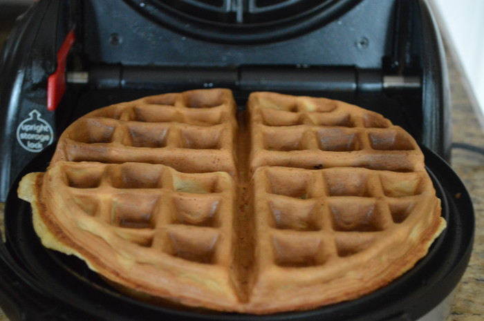 The banana waffles just needed to go for about 5 to 5 1/2 minutes to get gorgeously golden and puffy.