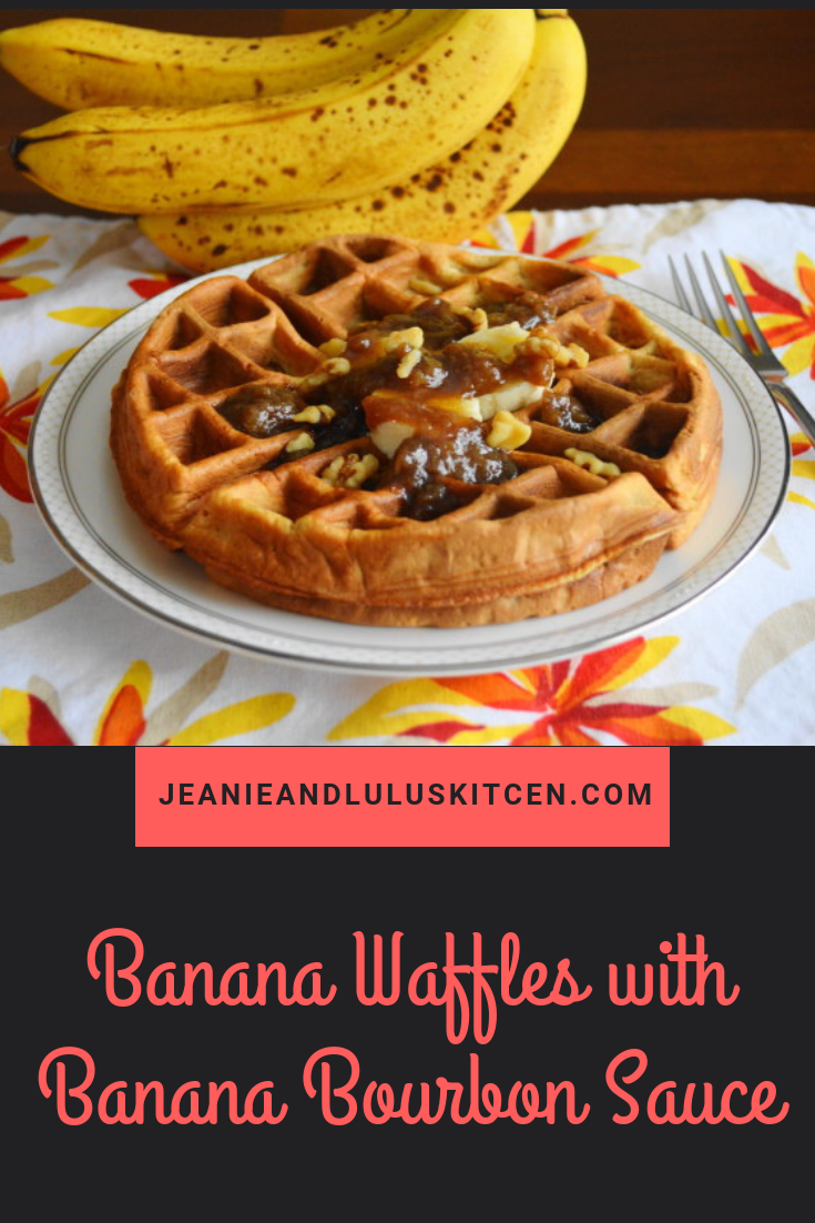 Banana Waffles with Banana Bourbon Sauce