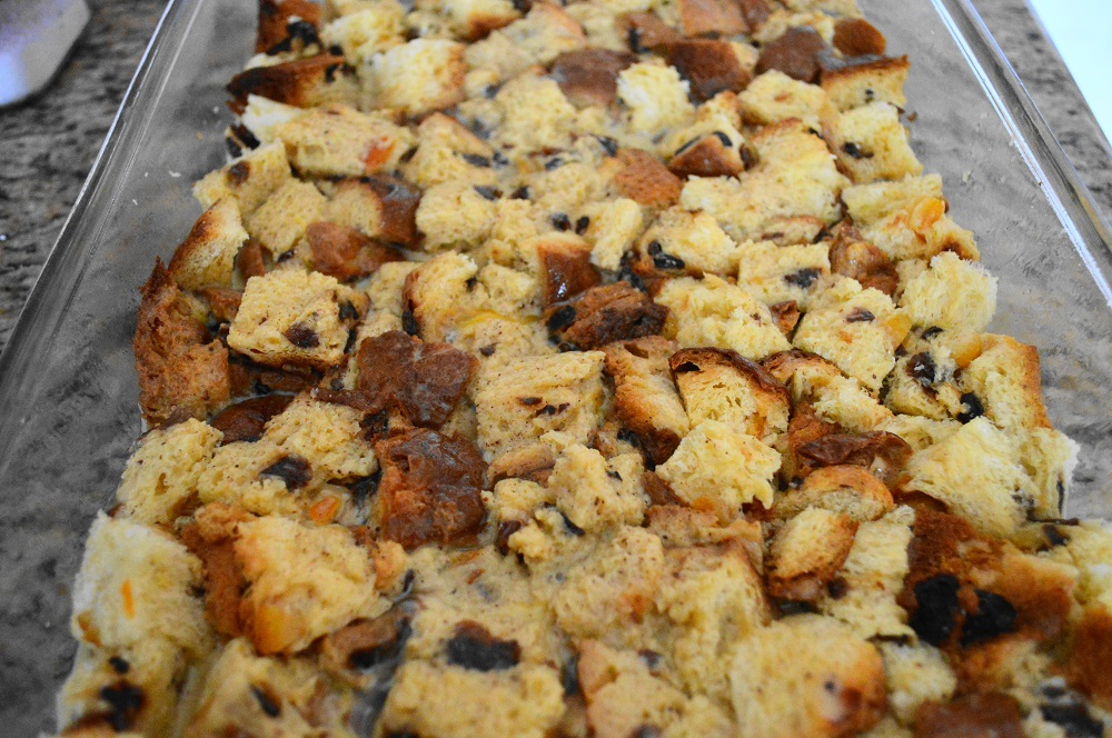 I poured that luscious custard all over my cubed panettone and made sure all of it was soaking together. Then I let it sit in the refrigerator overnight. That was the beauty of this panettone French toast casserole! I was able to make it ahead of time for an easy morning.