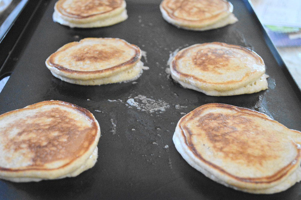 When I flipped them over, the lemon yogurt pancakes puffed up so much as soon as they hit the heat. It was magical to watch!