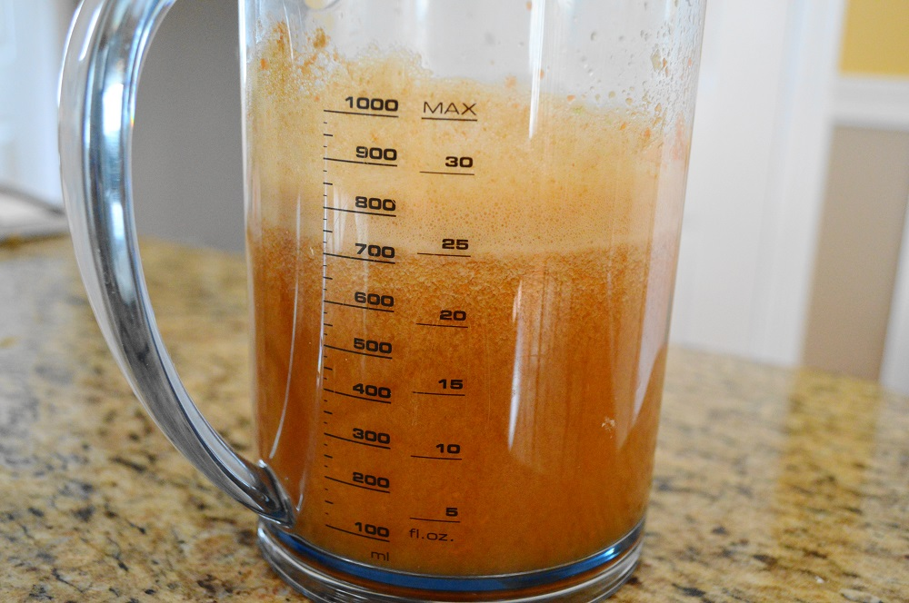 I made sure to cut everything small enough to fit through the feed tube of my juicer. Nothing needed to be peeled or seeded though! It took care of that for me! It all just went right into the pitcher to become the gorgeous, combined veggie fruit juice.