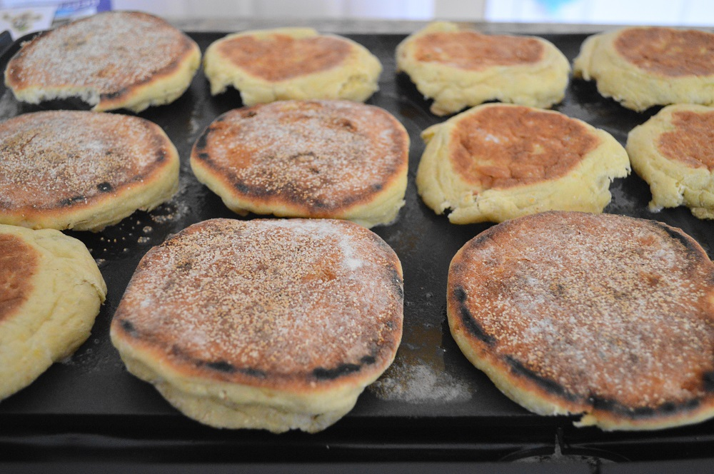 The rest of the components came together very quickly. I used my beloved electric griddle to toast my English muffins and cook the eggs. I used corn English muffins for the homemade breakfast sausage sandwiches for that extra bit of fantastic flavor.