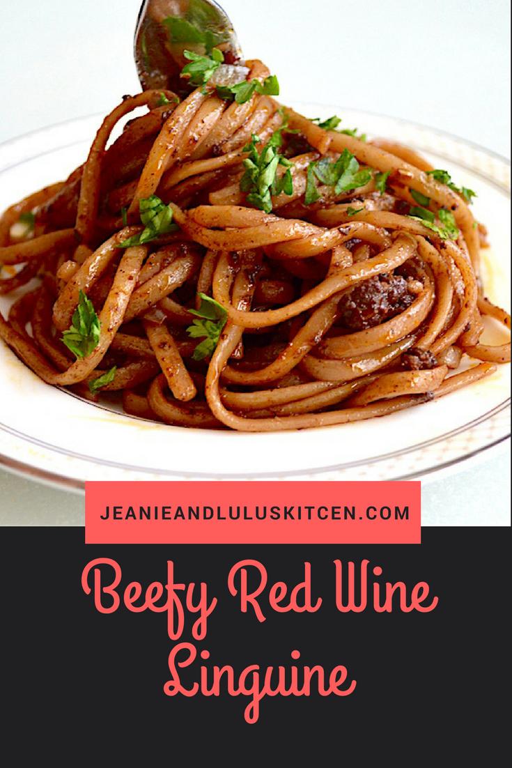Beefy Red Wine Linguine