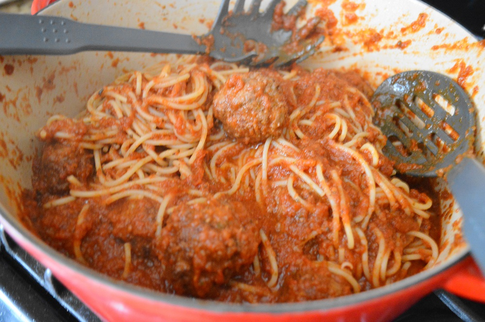 This sight was glorious to me. A big, beautiful pot of spaghetti and meatballs that was all tossed together and ready to serve! It meant I got to eat!