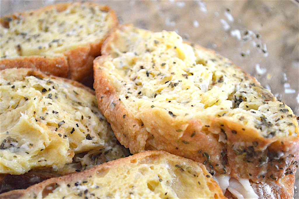Once the savory stuffed French toast was assembled, I let it bathe in the most amazing custard. It was a combination of eggs, milk, dried herbs, seasoning and lots of pecorino romano cheese. I let the bread soak it in for 5 minutes on each side to really absorb the flavors.