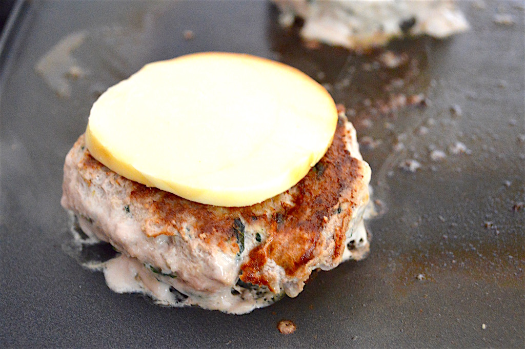 I used my beloved griddle here and cooked the basil lemon turkey burgers for about 6 minutes on each side. Smoked mozzarella seemed like the perfect, super creamy cheese option to me!
