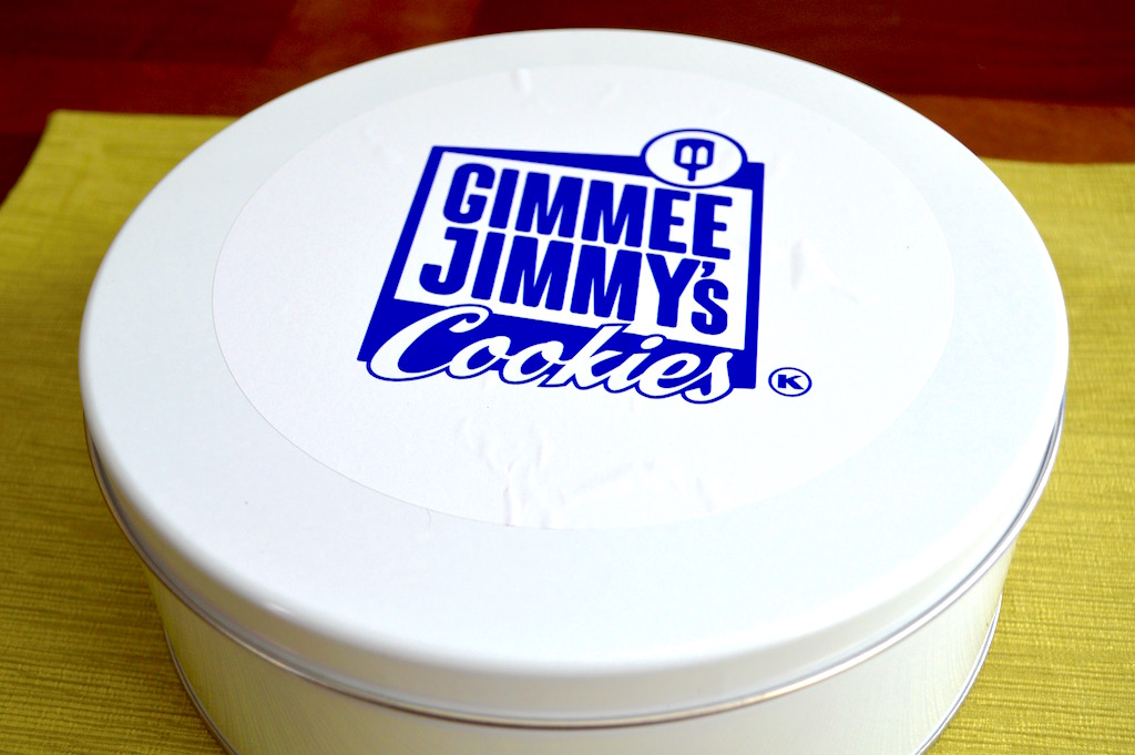 The tin the cookies arrived in was perfect for keeping them. It held so many delectable Gimmee Jimmy's cookies and kept them fresh for well over a week!