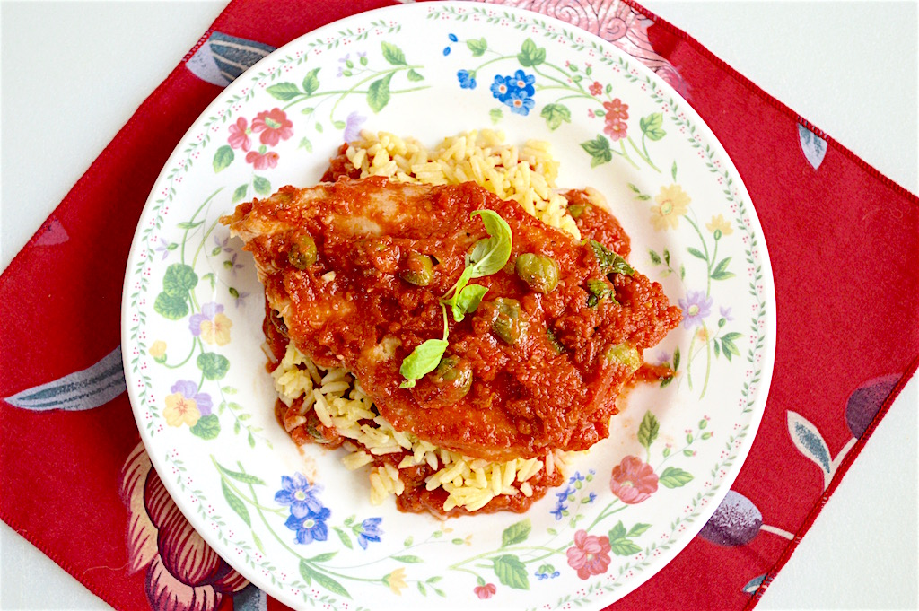 Chicken Cutlets in Tomato Caper Sauce