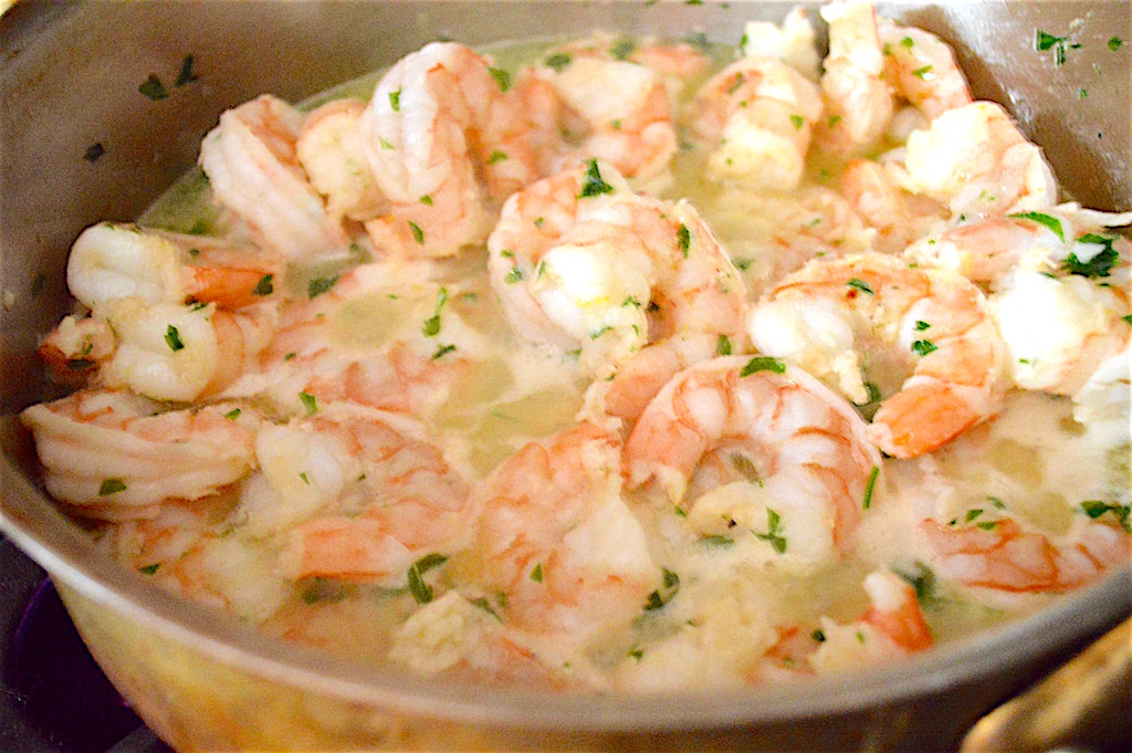 The shrimp, garlic and parsley all bathed in an amazing sauce of butter, olive oil, lemon zest and a little cognac. The cognac was the real kicker here. It gave such a depth of flavor to the shrimp scampi over linguine.