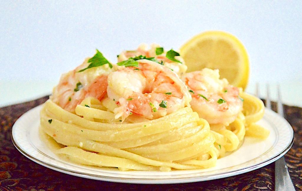 Shrimp Scampi over Linguine