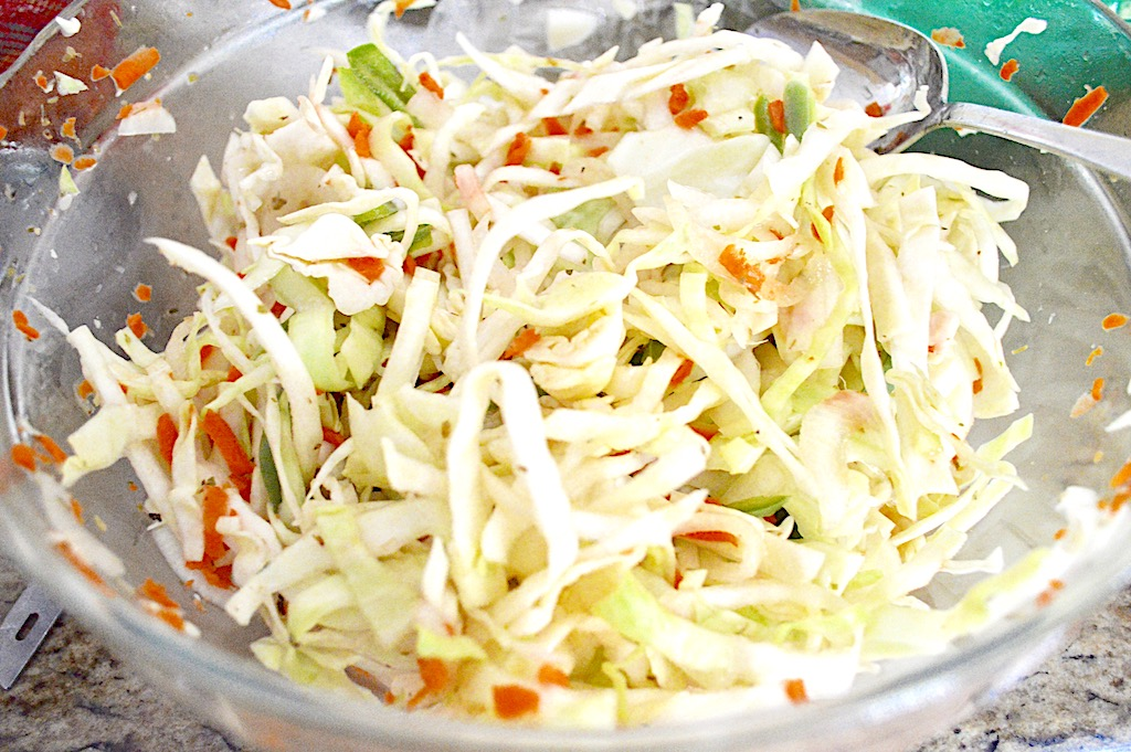 There are two toppings that always are served with traditional Salvadoran pupusas. The curtido is a gorgeous cabbage slaw that was easy to make. I actually made it the day before because the longer it sits, the better it is. I just tossed all of the veggies with some seasoning, apple cider vinegar and warm water. The simplicity let everything really sing.