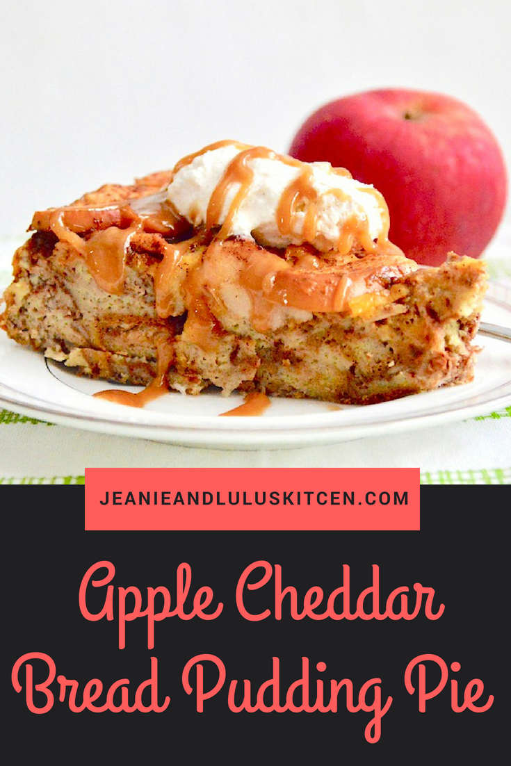 Apple Cheddar Bread Pudding Pie