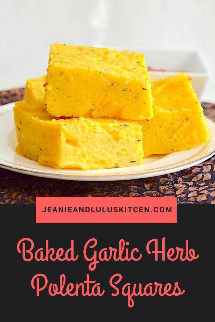 Baked Garlic Herb Polenta Squares