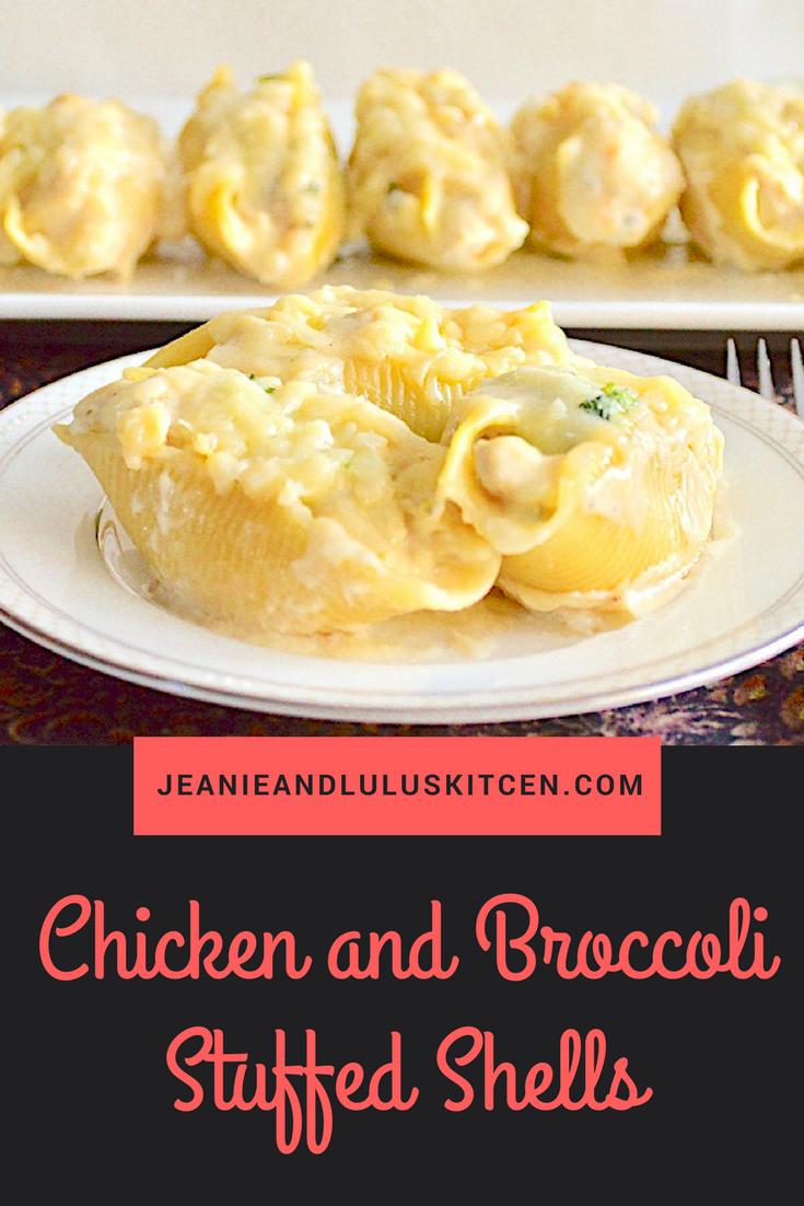 Creamy Chicken Broccoli Stuffed Shells