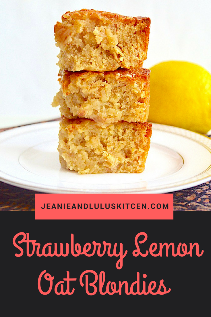 Strawberry Lemon Oat Blondies