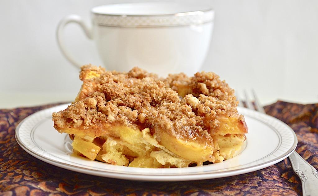 Peach Cobbler French Toast Bake