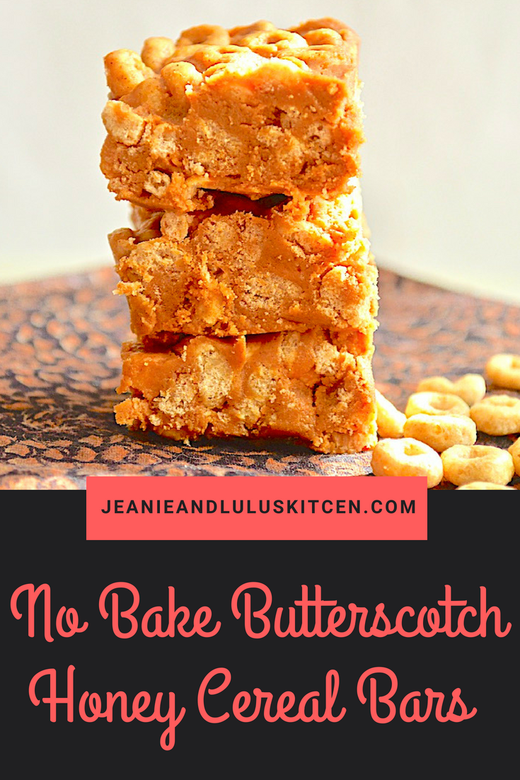 No Bake Butterscotch Honey Cereal Bars