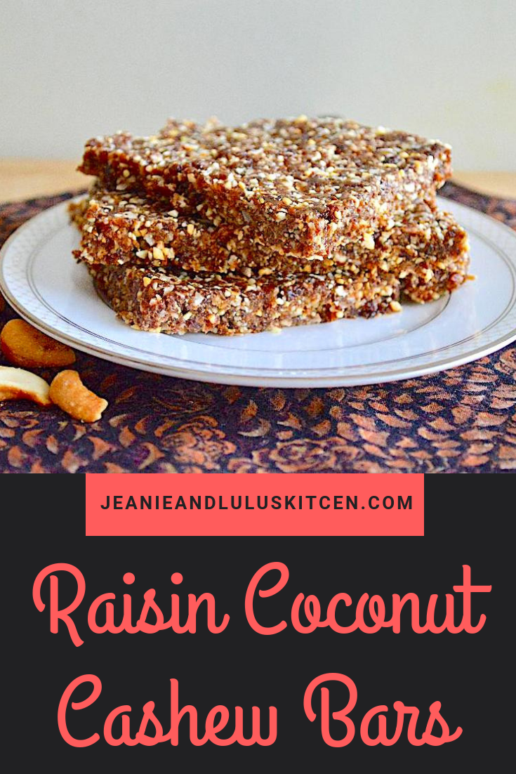 Raisin Coconut Cashew Bars