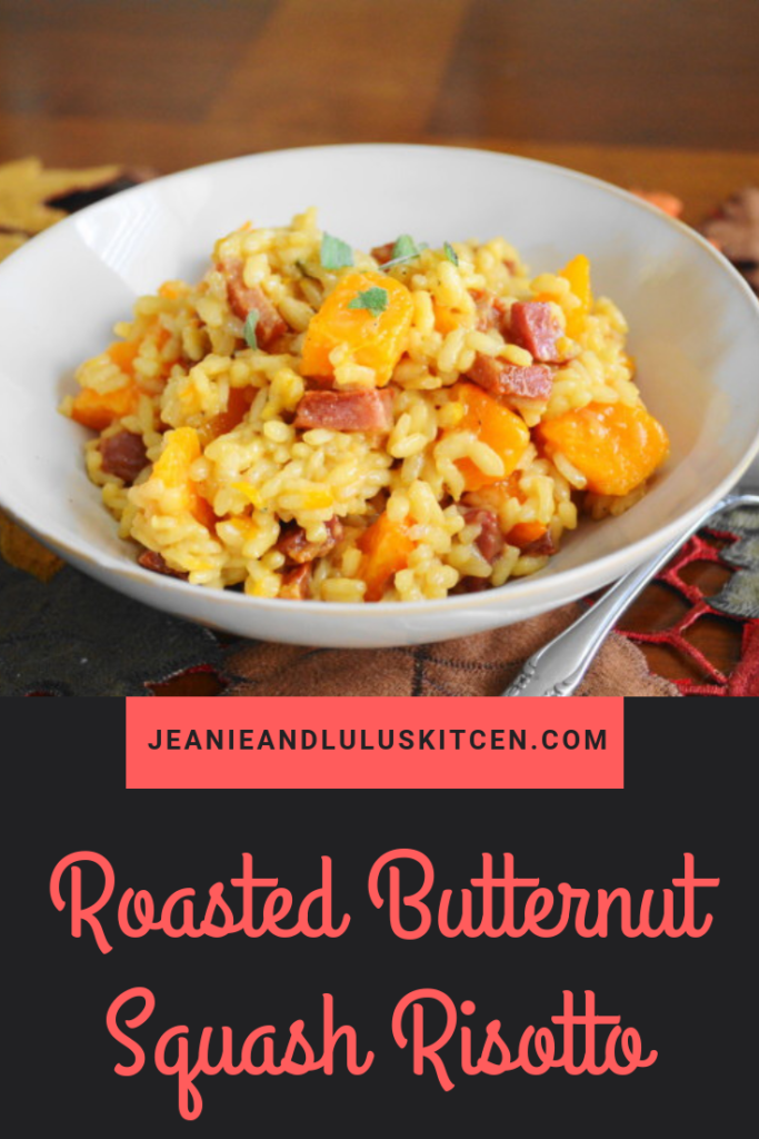 This is such a fantastic roasted butternut squash risotto with that creamy arborio rice stirred with the squash, salty pancetta and smoked gouda for a complete meal! #dinner #risotto #butternutsquash #roastedbutternutsquashrisotto #jeanieandluluskitchen