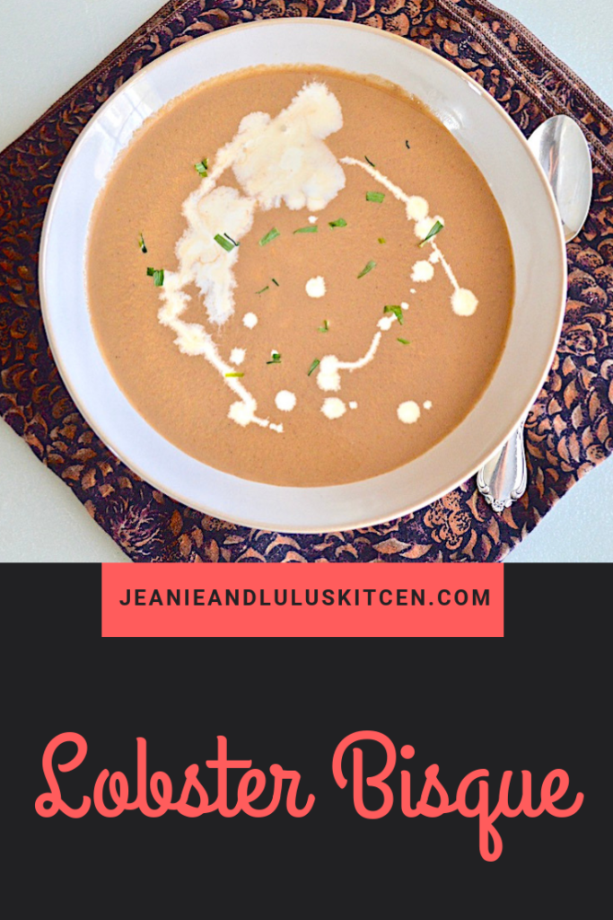 This is such a luscious and flavorful lobster bisque that makes a fantastic starter or a meal in itself! #lobster #seafood #soup #lobsterbisque #jeanieandluluskitchen