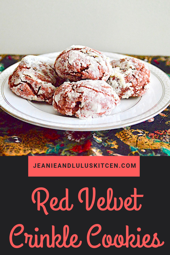 These red velvet crinkle cookies are so festive and gorgeously chocolatey for the holiday table and giving as yummy gifts! #redvelvet #cookies #redvelvetcrinklecookies #dessert #jeanieandluluskitchen