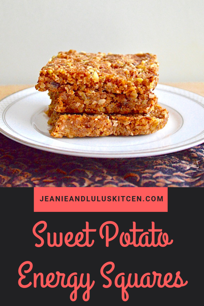 These are such hearty and wonderfully chewy sweet potato energy squares packed with dates, nuts, coconuts, flax and warm spices! #energybars #sweetpotato #vegan #sweetpotatoenergysquares #jeanieandluluskitchen