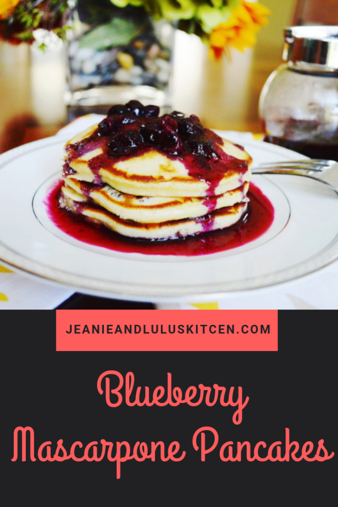 Fluffy and incredible blueberry mascarpone pancakes served with a blueberry syrup on top! So wonderful for brunch. #pancakes #blueberries #blueberrymascarponepancakes #breakfast #brunch #jeanieandluluskitchen