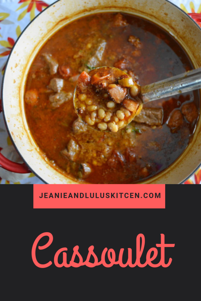 This is an incredible shortcut version of classic French Cassoulet!! The beans, pork, and gorgeous beef stew all come together in a bowl of pure winter comfort. #cassoulet #stew #comfortfood #dinner #jeanieandluluskitchen