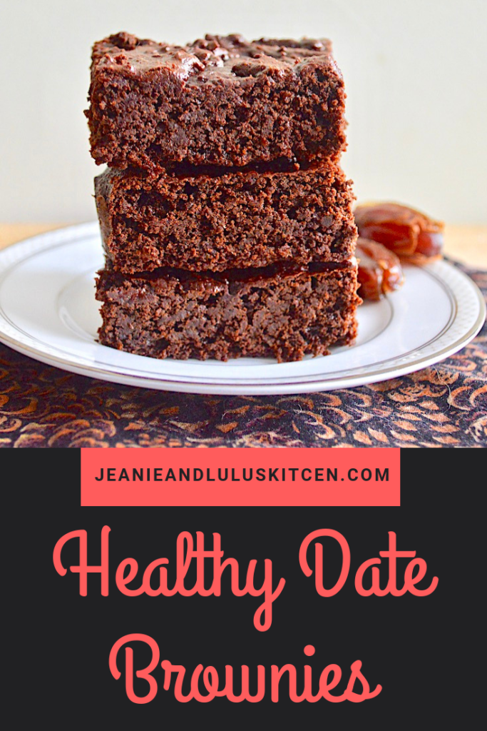These are such flavorful and decadent tasting healthy date brownies that make a perfect treat to kill the chocolate craving without all of the guilt. #brownies #dessert #chocolate #dates #healthydatebrownies #jeanieandluluskitchen