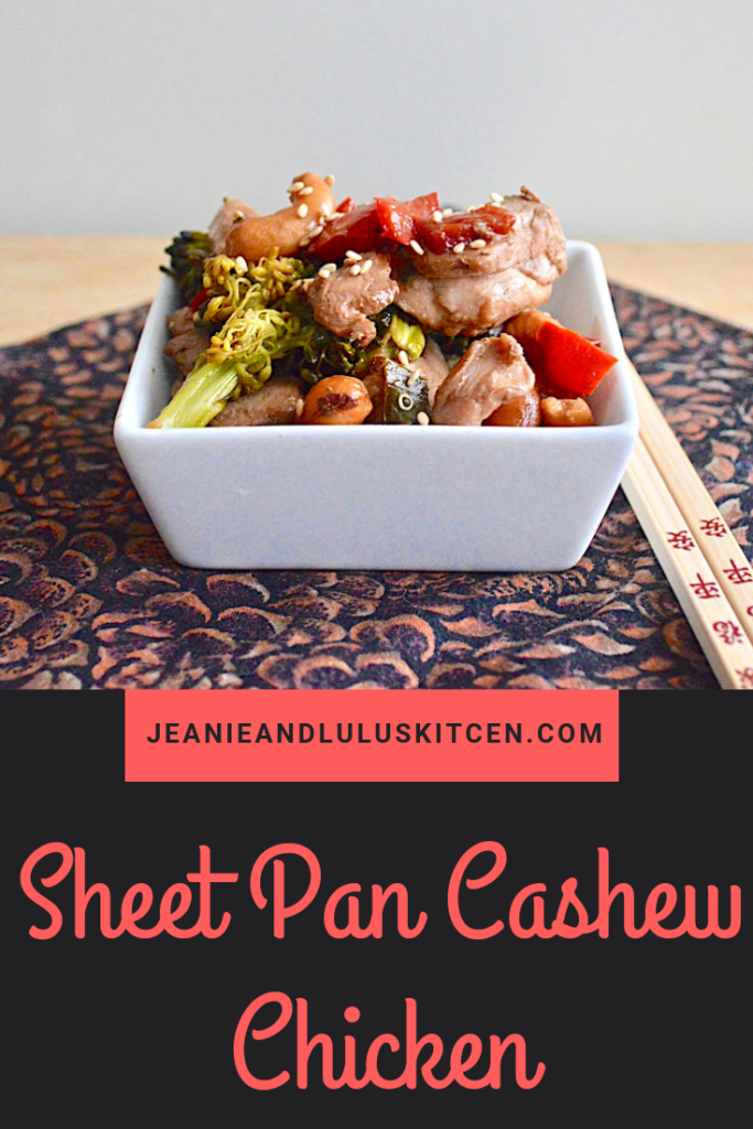 This is such a simple and flavorful Asian inspired sheet pan cashew chicken that is perfect to serve over quinoa or rice! #chicken #chickendinners #sheetpancashewchicken #cashews #jeanieandluluskitchen