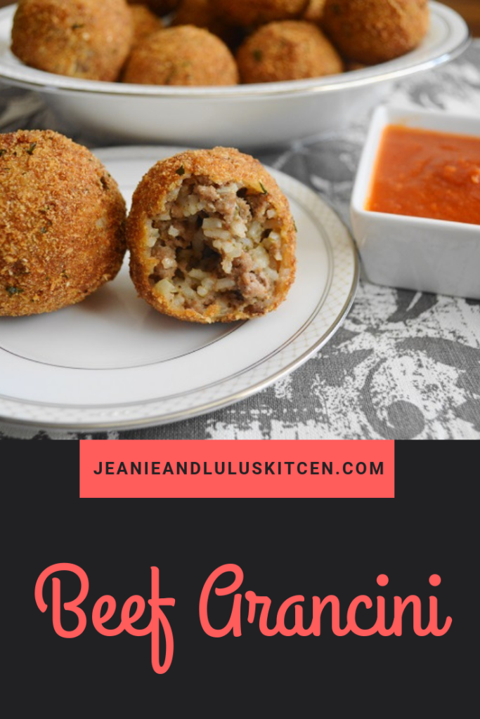 Beef arancini are such perfect bites of Italian street food. They are the most amazing way to use up leftover rice! #arancini #beefarancini #rice #beef #jeanieandluluskitchen