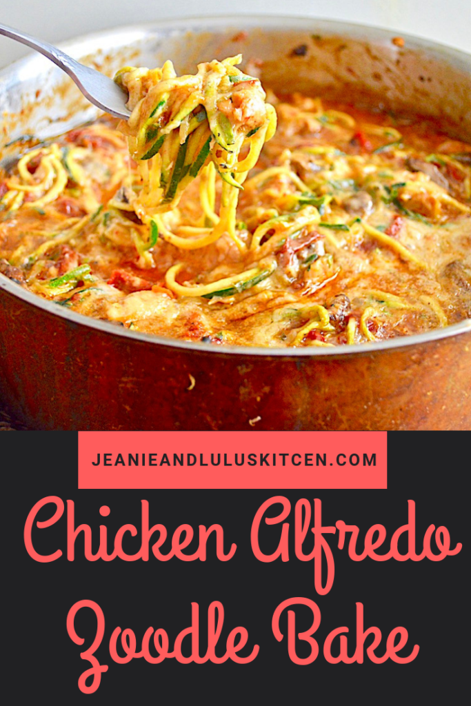 This chicken alfredo zoodle bake is such a hearty, simple and low carb dinner that all comes together in one pan with lots of veggies! #lowcarb #chicken #zoodles #chickenalfredozoodlebake #jeanieandluluskitchen