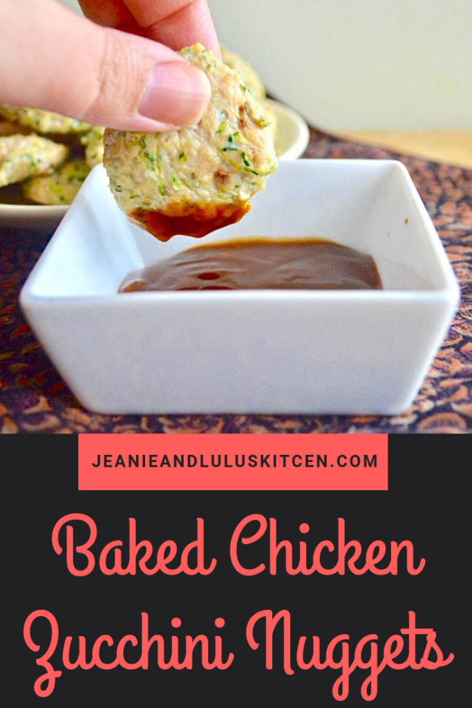 These are such simple and wonderful baked chicken zucchini nuggets that satisfy like the childhood classic but are so much more flavorful and lean! #chicken #dinners #zucchini #bakedchickenzucchininuggets #jeanieandluluskitchen