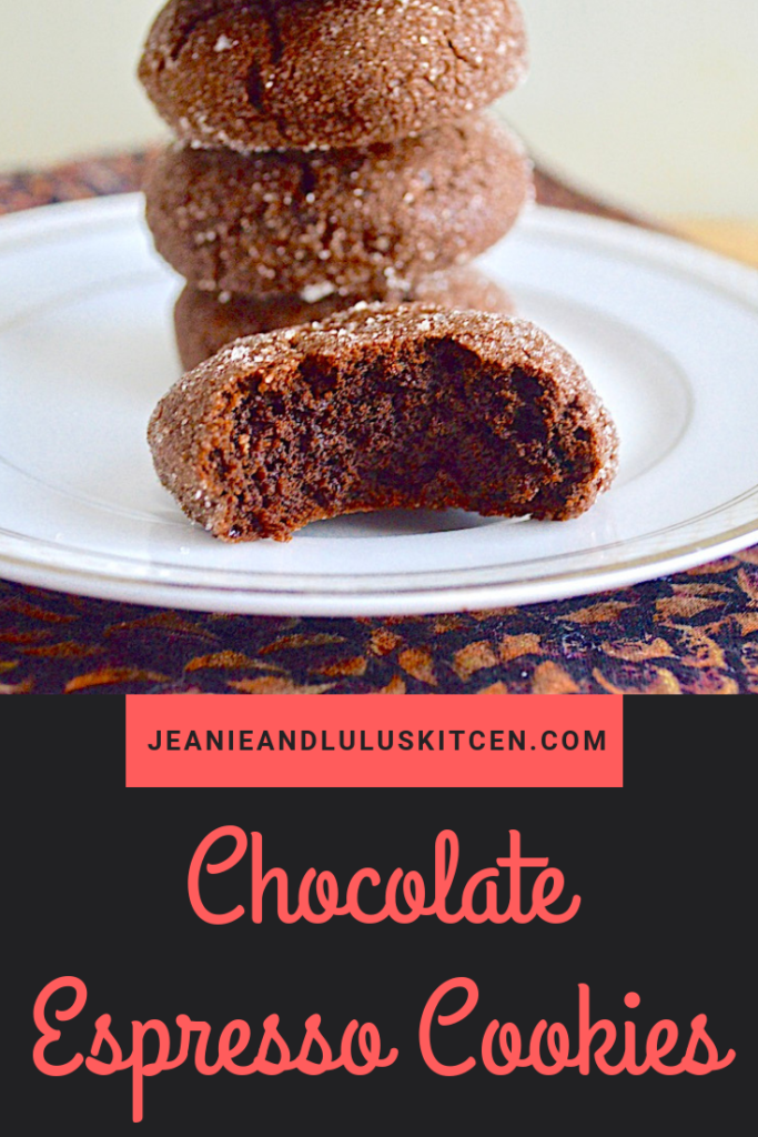 These soft and chewy chocolate espresso cookies are such a fun and wonderful treat! They are simple to make with no special equipment too. #cookies #chocolate #espresso #chocolateespressocookies #jeanieandluluskitchen